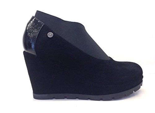 APEPAZZA PATRICIA PSN06 NERO,scarpe donna,decoltè donna,scarpa zeppa,camoscio,elastico (38)