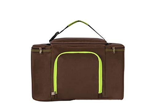 VNIUBI Kühltasche Klein Picknicktasche Lunchtasche Wasserdicht Mittagessen-Tasche zur Arbeit Schule Faltbar Reißverschluss,Braun