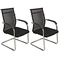 DZYN Furnitures Mesh Chair Visitor Black Colour(Buy 1 Get 1 Free)