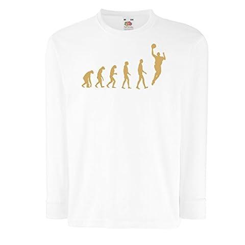 Kinder-T-Shirt mit langen Ärmeln Evolution Basketball (9-11 years Weiß Gold)