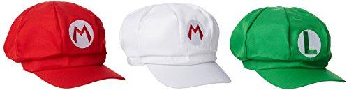 Katara 1659 - Super Mario Luigi 3 Mützen Set, Kostüm Fasching Karneval Halloween, Rot Grün Weiß