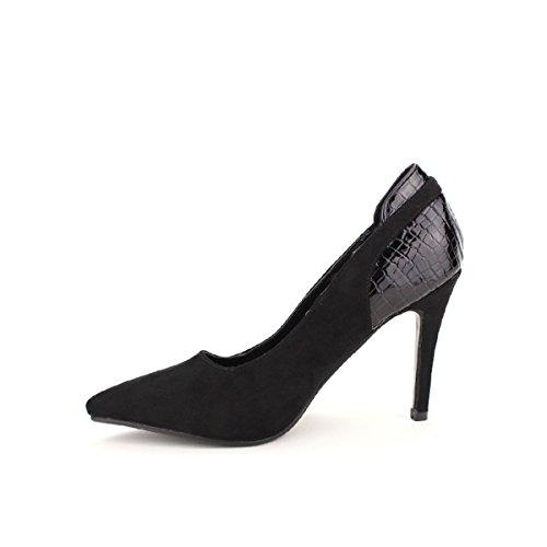Cendriyon, Escarpin Noir Bi matière CREATIONS Chaussures Femme Noir