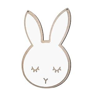 Vosarea Dekorativer Spiegel Hase in selbsthaftender Form für Kinderzimmer