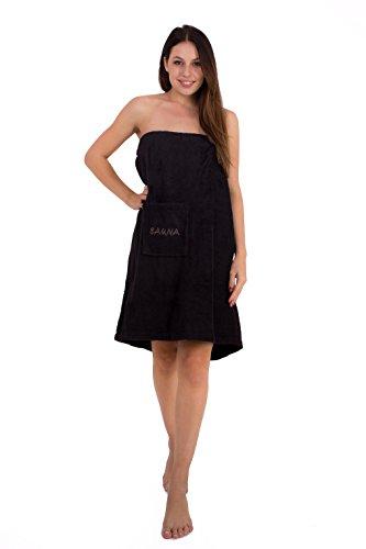 Saunakilt für Damen 75 x 140 cm Julie Julsen mit Druckknöpfen und Gummizug 100% Baumwolle Tasche aufgesetzt Schwarz