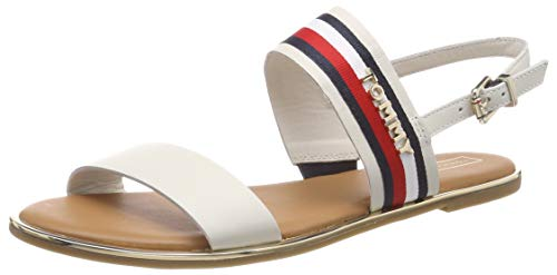 Tommy Hilfiger Flat Sandal Corporate Ribbon, Infradito Donna, Bianco (Whisper White 121), 38 EU