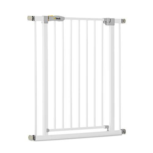 Hauck Open N Stop KD Türschutzgitter/Treppengitter/75 - 80 cm/ohne Bohren/erweiterbar mit Verlängerungen von 9 cm und 21 cm bis 122 cm/ kombinierbar mit Y-Spindeln/ Metall/beidseitig schwenkbar/ weiß