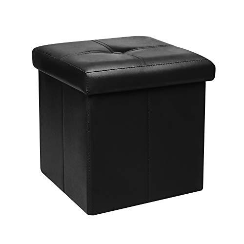 Bonlife Pouf Contenitore Sgabello Pieghevole Cassapanca Usato per la Camera  da Letto Tessuto PVC,Nero, 30 x 30 x 30 cm