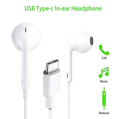 USB Typ C Kopfhörer, FLYHANA In-Ear USB C Kopfhörer, Typ C Stereo Ohrhörer, Hände frei Audio Headset, Kabel-Headset mit Fernbedienung und Mikrofon kompatibel mit Huawei, Pixel 2, HTC, Nokia, Sony, MI