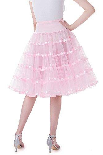 Tsygirls Unterrock Petticoat Reifrock Tüll Tutu für Vintage Kleid 1950 Röcke Rosa
