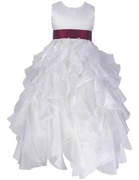 Organza & Satin Brautjungfern Anlässe Festkleid Mädchen Weiß Kleid & Farben Schärpe