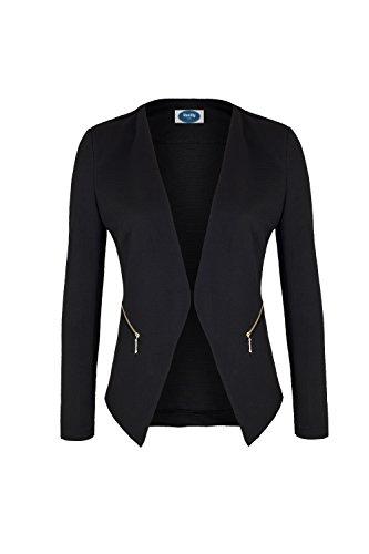 4tuality AO Blazer kragenlos mit Zipper schwarz Gr. XXXL