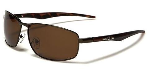 X-Loop polarisierte Sportbrille Unisex Damen Herren Sport Sonnenbrille mit flexiblen Federscharnier Bügel Kunststoff Metall