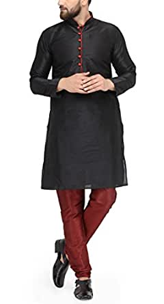 Ben Martin Men's Dupion Silk Blend Kurta and Pyjama (Black, 38)