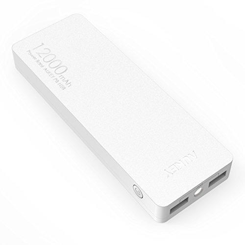 AUKEY Batterie externe 12000mAh 2.4A * 2 ports USB sortie avec la Technologie AiPower pour iPhone 6s / 6s Plus / 6 / 6 Plus, iPad Air 2 / mini 3, Galaxy S6 / S6 Edge et autres smartphones (Blanc)