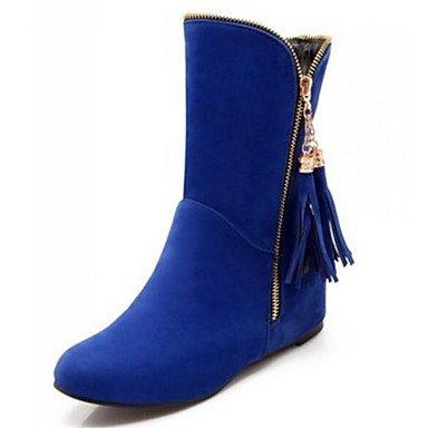 Wuyulunbi@ Scarpe Donna Autunno Inverno Moda Stivali Stivali Chunky Tallone Punta Quadrata Scarpine/Stivaletti Per Casual Blue Rosso Nero Marrone US3.5 / EU33 / UK1.5 / CN32