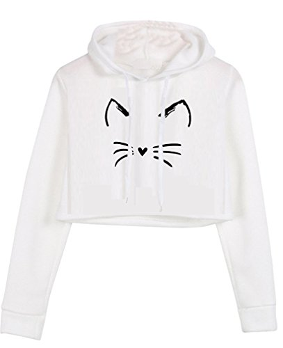HappyGo Femme Casual Capuche Crop Hoody Mode Sweat Manches Longues Sweatshirt Blanc