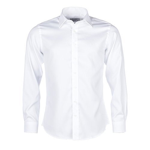 L. Bo Apparel, Smart: Camisa Blanca para Hombre Formal Slim Fit, 100% algodón, XL 43/44