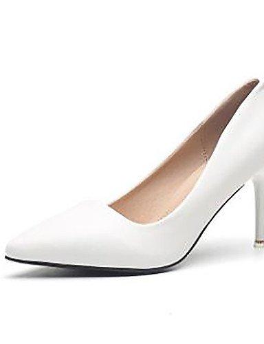 GS~LY Damen-High Heels-Kleid-Kunstleder-St枚ckelabsatz-Abs盲tze / Spitzschuh / Geschlossene Zehe-Schwarz / Wei