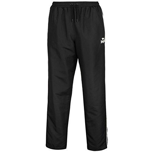 Lonsdale Herren 2 Stripe Open Hem Woven Hose Gewebt Trainingshose Black/White S