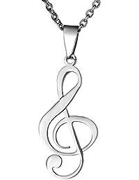 Housweety Collier avec Pendentif Symbole de Note de Musique en Acier Inoxydable pour Femme et Fille