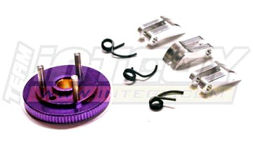 Integy RC Model Hop-ups T7041PURPLE 7075 3-Piece Type Clutch+Flywheel for HPI Savage-X, 21 & 25