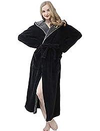 SHOBDW Albornoz Vestido De Mujer Bata De Invierno con Capucha Ropa De Dormir Suave SPA Gym