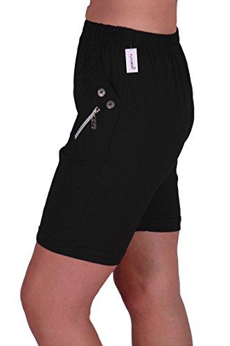 Eyecatch - Damen Entspannte Komfort Elasticized Flexi Stretch Damen Shorts Mollige New Schwarz