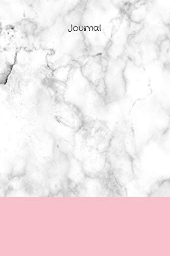 Journal: White/grey marble background with pink band and black title, 200 page (100 sheet) 6