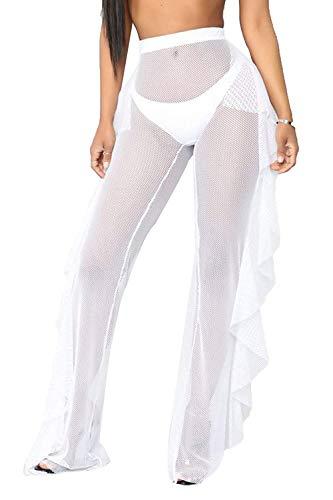 Willow Dance Damen Perspective Sheer Mesh Rüschen Pants Badeanzug Bikini Bottom Cover Up Pants - - Small Sheer Mesh Jacke