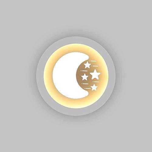 Led Wandleuchte Weiß 27W Mond-/Sternedesign für Wohnzimmer, Schlafzimmer, Kinder Zimmer 2 Lichtfarbe Warmweiß/3000K und Kaltweiß/6000K JDONG B6012SM