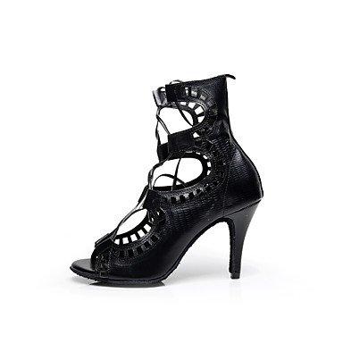 XIAMUO Anpassbare Damen Tanz Schuhe Kunstleder Kunstleder Latin/Salsa/Samba Sandalen Stiletto HeelPractice/Anfänger/Professional/ Schwarz