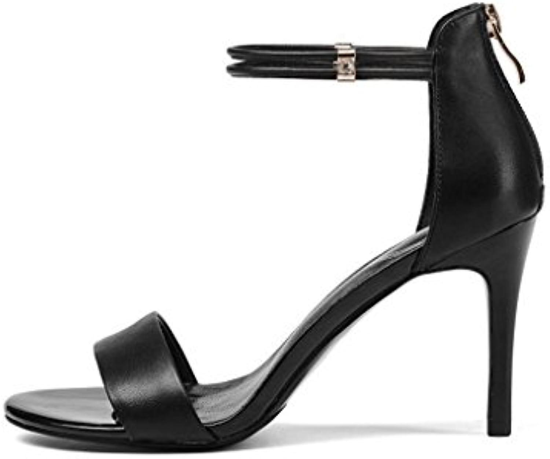 Sandalias de Las Mujeres del Verano del pie del pie Open Toe Cremallera Trasera de Tacones Altos Zapatos de Tacón...