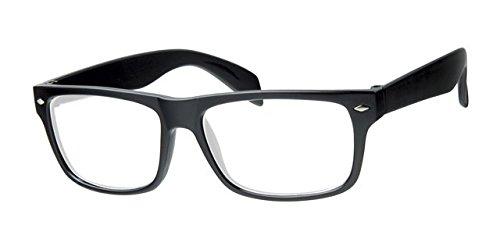 Eyewear World Unisex Brille mit transparenten Gläsern und schwarzem Rahmen