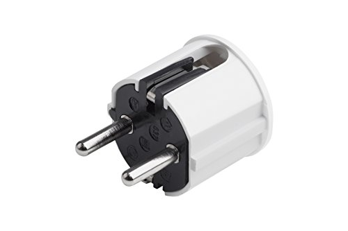 Meister Schutzkontakt-Stecker - Kunststoff - weiß - 250 V - 16 A - Maximaler Kabelquerschnitt 2,5 mm² - IP20 Innenbereich - Seitliche Einführung / Schuko-Stecker mit Zugentlastung / 7421110