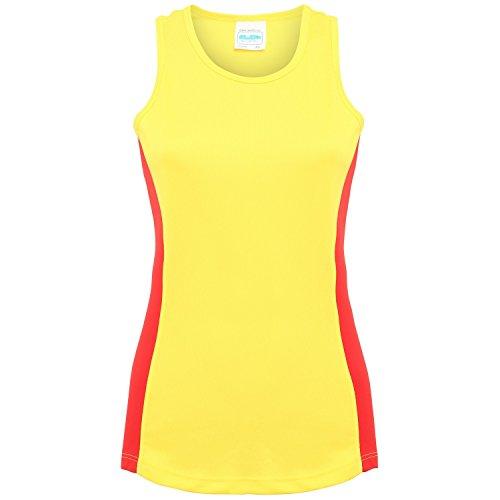 AWDis Just Cool - Débardeur sport à dos nageur - Femme Jaune/Rouge