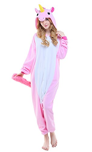 hnachten Verkleiden Cosplay Erwachsene Karneval Schlafanzug(M, Rose Einhorn) (Plus Size Kostüme Tragen)