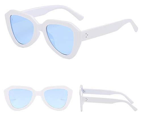 Sonnenbrille Cat Eye Sonnenbrille Gradient Gläser Kunststoff Sechskant Sonnenbrille Uv 400 Weißen Rahmen Blaue Linse
