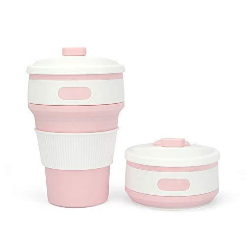 (DRH E-commerce Zusammenklappbar kaffeetasse Nahrungsmittel Grad Silikon Reise Tasse 12oz/350ml Sport-Wasserflasche für Outdoor (Rosa))