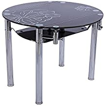 Mesa de comedor circular extensible en cristal templado