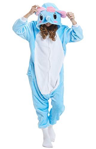 Pyjamas Kigurumi Jumpsuit Onesie Mädchen Junge Kinder Tier Karton Halloween Kostüm Sleepsuit Overall Unisex Schlafanzug Winter, Blau Elefant