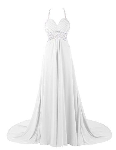 Dresstells, Robe de soirée de mariage/cérémonie/mère de mariée bretelles spaghetti forme empire traîne moyenne avec emperler sequins Ivoire