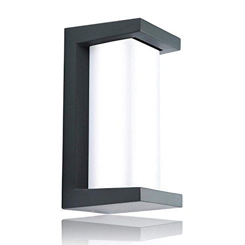 Glighone Apliques de Pared Lámpara Moderna 10W Impermeable IP55 Forma Cuadrada Luz de Aluminio Iluminación Exterior y Interior para la Pared Exterior, Balcón, Jardín, Porche, Camino, Patio, Blanco Frío