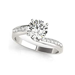 Damen-Ring Verlobungsring 1,50 Karat (750) Weißgold Moissanit Rundschliff Größe P O L K J H N M Q