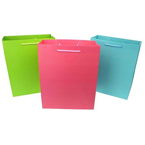 K&G GP02732 3er Set Geschenktüten Uni | Wachspapier Geschenk-Taschen Rosa, Grün, Blau | Geschenk Verpackung | Stabil mit Boden | Geburtstag Tüte