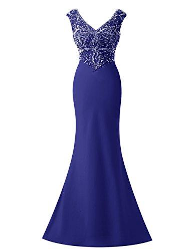 Bbonlinedress Robe de cérémonie Robe de soirée emperlée col en V avec traîne Bleu Saphir