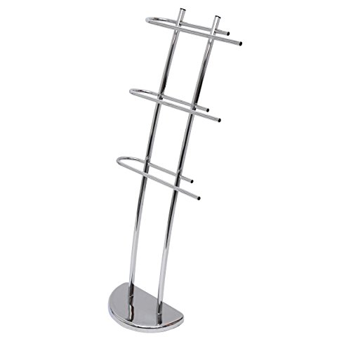 MSV 140384 - Toallero de pie (metal, 30 x 18,5 x 104 cm), color cromo