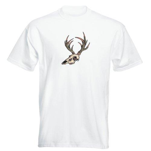 T-Shirt - Animal - Tier - Buddy Skull 48 - Totenkopf - Herren Weiß
