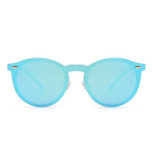 Sonnenbrille Spiegel Polarisieren Rahmenlos Club Runden Randlos Reflektierend Damen Herren(Gold/Spiegel Blau)