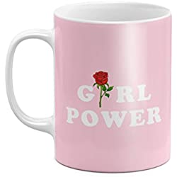 Red Rose Blossom Girl Power Aesthetic Pink Feminist Mug 11 ounce Ceramic Tea Coffee Mug Taza