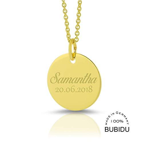 333 /- Gold Kette mit Gravur ❤️ Gelbgold Namenskette Schmuck Gravur ❤️ moderne Kette aus Gold mit Namen zur Geburt Mutter ❤️ ID Kette Echtschmuck poliert Taufe | HANDMADE IN GERMANY
